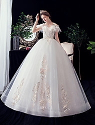 cheap -A-Line / Ball Gown V Neck Maxi Polyester / Lace / Tulle Short Sleeve Made-To-Measure Wedding Dresses with Embroidery / Lace 2020