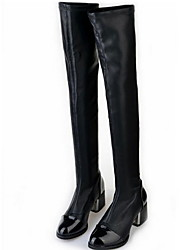 cheap -Women's Boots Chunky Heel Pointed Toe PU Knee High Boots Winter Black