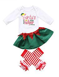 Χαμηλού Κόστους -Μωρό Κοριτσίστικα Καθημερινό / Ενεργό Στάμπα Στάμπα Μακρυμάνικο Μακρύ Σετ Ρούχων Πράσινο του τριφυλλιού