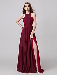 cheap -A-Line Halter Neck Floor Length Chiffon Elegant Prom / Formal Evening Dress with Split Front / Pleats 2020