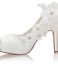 cheap -Women's Wedding Shoes Stiletto Heel Peep Toe Crystal / Pearl Satin Spring &  Fall / Summer Ivory