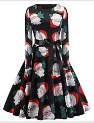 cheap -Women's Red Green Dress Christmas Party A Line Geometric Print S M