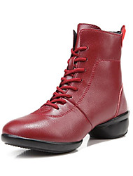 cheap -Women's Dance Shoes Faux Leather Dance Boots Boots Thick Heel Customizable Black / Dark Red