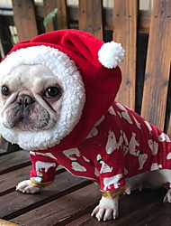 cheap -Dog Bandanas & Hats Winter Dog Clothes Red Costume Polyster Solid Colored Cosplay Christmas M L