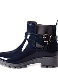 cheap -Women's Boots Flat Heel Round Toe PU Booties / Ankle Boots Fall & Winter Black / Wine / Dark Blue
