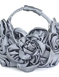 Недорогие -Жен. Молнии / Цветы Шелк Вечерняя сумочка Сплошной цвет Серый