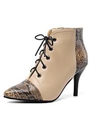 cheap -Women's Boots Stiletto Heel Pointed Toe PU Classic Fall & Winter Black / Almond / Burgundy