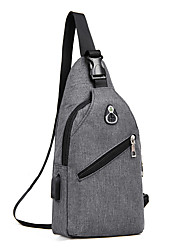 cheap -Men's Bags Polyester Sling Shoulder Bag Chest Bag Zipper Solid Color Holiday Outdoor Black Blue Gray