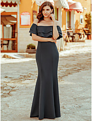 cheap -Mermaid / Trumpet Elegant Formal Evening Dress Off Shoulder Short Sleeve Sweep / Brush Train Polyester with Ruffles 2020
