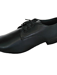 cheap -Men's Modern Shoes / Ballroom Shoes Leather Lace-up Heel Thick Heel Customizable Dance Shoes Black