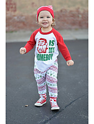 Χαμηλού Κόστους -Μωρό Αγορίστικα Καθημερινό / Ενεργό Άγιος Βασίλης Στάμπα / Μονόχρωμο Στάμπα Μακρυμάνικο Μακρύ Σετ Ρούχων Πράσινο του τριφυλλιού