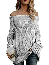 cheap -Women's Solid Colored Long Sleeve Pullover Sweater Jumper, Off Shoulder Wine / Gray / Khaki S / M / L