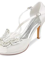 cheap -Women's Wedding Shoes Stiletto Heel Peep Toe Rhinestone / Bowknot Satin Spring &  Fall / Summer Ivory