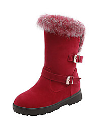 cheap -Women's Boots Snow Boots Low Heel Round Toe PU Mid-Calf Boots Casual / Preppy Fall & Winter Black / Brown / Red