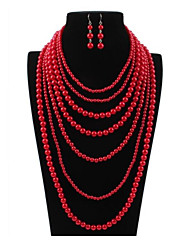 cheap -Women's Pearl Bridal Jewelry Sets Classic Donuts Stylish Earrings Jewelry White / Red For Party Festival 1 set