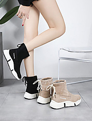 cheap -Women's Boots Creepers Round Toe Bowknot Satin Booties / Ankle Boots Casual Walking Shoes Spring & Summer / Fall & Winter Black / Khaki