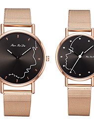 cheap -Couple's Steel Band Watches Quartz Stainless Steel Black / Silver / Rose Gold No Chronograph Cute Creative Analog New Arrival Fashion - Black Black / White Rose Gold One Year Battery Life