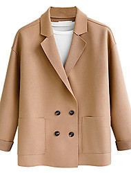 cheap -Women's Daily / Going out Vintage / Basic Spring &  Fall / Fall & Winter Regular Jacket, Solid Colored Straight Collar Long Sleeve Others Patchwork Black / Light Blue / Blushing Pink