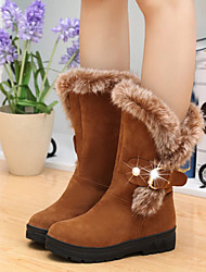 cheap -Women's Boots Snow Boots Flat Heel Round Toe Feather / Buckle Suede Mid-Calf Boots Vintage / Casual Spring &  Fall / Fall & Winter Black / Camel / Red
