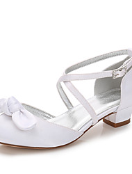 cheap -Girls' Mary Jane Satin Heels Little Kids(4-7ys) / Big Kids(7years +) Rhinestone / Bowknot White / Ivory Spring / Party & Evening