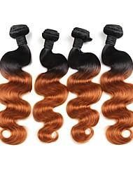 "cheap -4 Bundles Brazilian Hair Body Wave Virgin Human Hair Remy Human Hair Ombre Hair Weaves / Hair Bulk Human Hair Extensions Ombre 12""~26"" Multi-color Human Hair Weaves Natural Best Quality African"