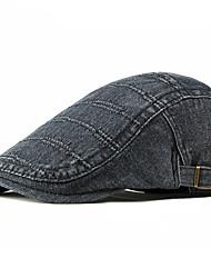 cheap -Men's Basic Polyester Beret Hat-Striped Fall Black Light Blue Blue