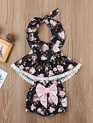 cheap -Baby Girls' Casual / Active Floral Lace / Backless / Bow Sleeveless Long Clothing Set Black