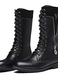 cheap -Men's Combat Boots PU Winter Boots Mid-Calf Boots Black