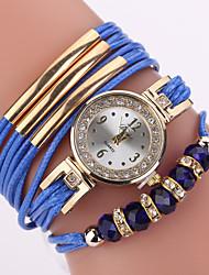 cheap -Women's Bracelet Watch Cubic Zirconia Casual Elegant Blue Grey PU Leather Chinese Quartz Blue Gray Casual Watch Imitation Diamond 1 pc Analog One Year Battery Life