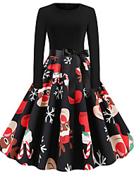 cheap -Women's Black Dress Basic Vintage Christmas Party Daily Wear A Line Animal Snowflake Deer Pleated Patchwork Print S M