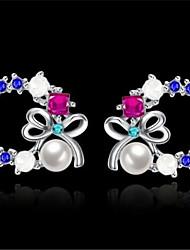 cheap -Women's Earrings Geometrical Butterfly Stylish Imitation Pearl Imitation Diamond Earrings Jewelry Silver For Gift Daily 1 Pair