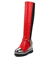 cheap -Women's Boots Wedge Heel Round Toe PU Mid-Calf Boots Fall & Winter Black / Red / Gray