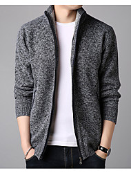 cheap -Men's Solid Colored Cardigan Long Sleeve Sweater Cardigans Stand Winter Wine Blue Light gray