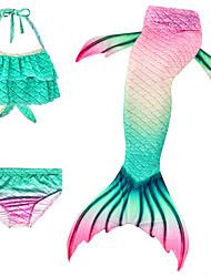 cheap -Kids Girls' Active Cute The Little Mermaid Geometric Sleeveless Swimwear Green