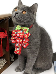 cheap -Dog Tie / Bow Tie Winter Dog Clothes Red Costume Polyster Print Bowknot Cosplay Christmas S M L