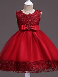 cheap -Princess Knee Length Flower Girl Dress - Organza / Tulle Sleeveless Jewel Neck with Appliques / Sash / Ribbon