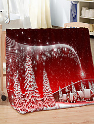 cheap -Christmas Knitted Flannel Fleece Blanket 100% Polyester Knees Warm Throw Blankets for Winter
