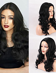 cheap -Human Hair Capless Wigs Human Hair Curly / Body Wave Asymmetrical / Middle Part / Deep Parting Style Classic / Fashion / Comfortable Black Long Capless Wig Women's / All / African American Wig