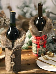 cheap -Christmas Wine Bottle Sweater Decorations New Wine Bottle Set Bow Linen Wine Bottle Set Holiday Decoration Props 12 * 24Cm