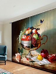 cheap -Oil Painting Style Fruit Plate Digital Printing 3D Curtain Shading Curtain High Precision Black Silk Fabric High Quality Curtain
