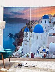 abordables -Style méditerranéen ville balnéaire impression numérique 3d rideau rideau d'ombrage haute précision noir tissu de soie haute qualité rideau