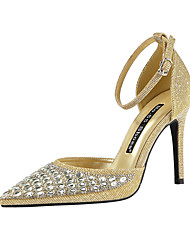 cheap -Women's Wedding Shoes Stiletto Heel Pointed Toe Rhinestone / Sequin / Sparkling Glitter Synthetics Minimalism Spring & Summer Black / Gold / Light Grey / Party & Evening