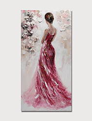 cheap -Oil Painting Hand Painted Abstract People Modern Stretched Canvas With Stretched Frame