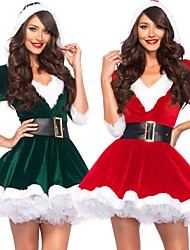 cheap -Santa Claus Dress Women's Adults' Costume Party Christmas Christmas Velvet Dress / Belt / Belt