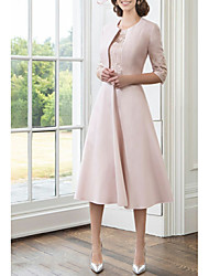 cheap -A-Line Mother of the Bride Dress Wrap Included Jewel Neck Tea Length Satin 3/4 Length Sleeve with Lace 2020
