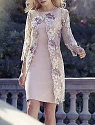 cheap -Sheath / Column Jewel Neck Knee Length Polyester 3/4 Length Sleeve Wrap Included Mother of the Bride Dress with Pattern / Print 2020