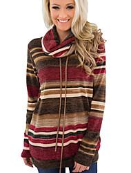 cheap -Women's Striped Long Sleeve Pullover Sweater Jumper, Turtleneck Blue / Brown S / M / L