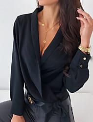 Недорогие -Жен. Однотонный Рубашка Повседневные V-образный вырез Белый / Черный / Розовый