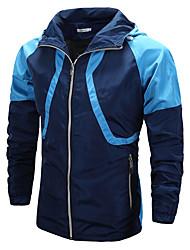 abordables -Homme Quotidien / Sports Printemps été / Automne hiver Normal Veste, Bloc de Couleur Capuche Manches Longues Polyester Bleu