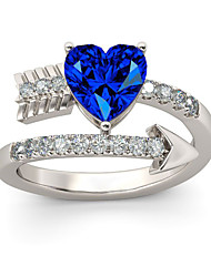 cheap -Women's Band Ring Ring 1pc Light Blue Silver Plated Alloy Stylish Basic Casual / Sporty Wedding Engagement Jewelry Heart Heart